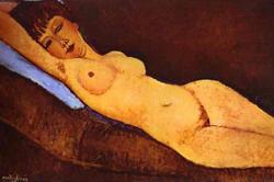 Amadeo Modigliani: Fekvő női akt kék párnával (1917)