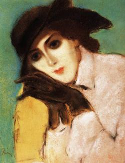 Rippl-Rónai József: Fekete kesztyűs nő (1920 körül)