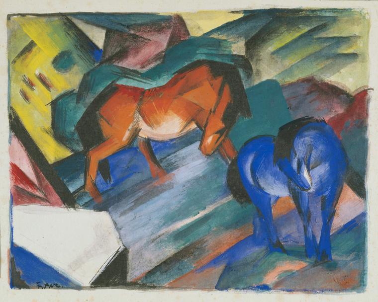 Kék Lovas - Franz Marc: Piros és kék ló, 1912