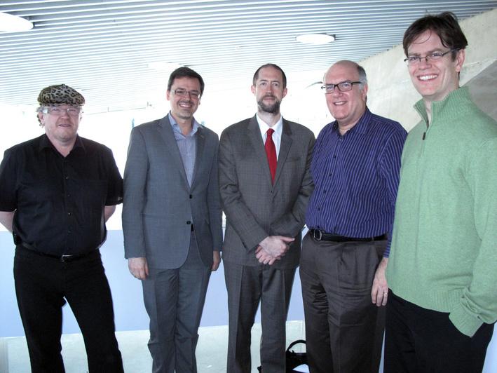 Sigi Feigl, a Pro Jazz Graz elnöke, Georg Schulz, , a KUG rektora, Ed Partyka Jazz tanszékvezető, Jim McNeely zsűritag, Artist in Residence, Donny McCaslin zsűritag Foto: KUG