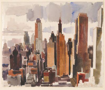 Aba-Novák Vilmos: New York Munkácsi Márton műtermének ablakából (1935)