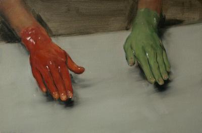 Michael Borremans: Vörös kéz, zöld kéz