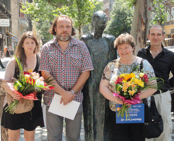 A Radnóti MasterCard-díjasai: Wéber Kata, Schneider Zoltán, Perényiné Hovanyecz Valéria, Szervét Tibor