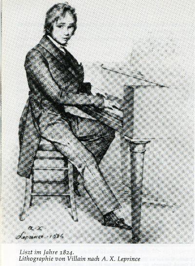 A 13 éves Liszt Ferenc a zongoránál
