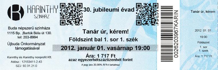 Karinthy Színház, QR-kódú jegy