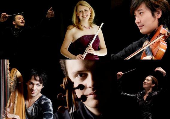 A schwerini fesztivál idei díjazottjaiA kép bal felső sarkában  Cornelius Meister, jobb alsó sarkában pedig Alondra de la Parra látható.