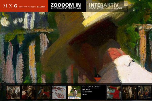 Zooooom in - A lényeg a részletekben rejlik alkalmazás, Magyar Nemzeti Galéria honlap