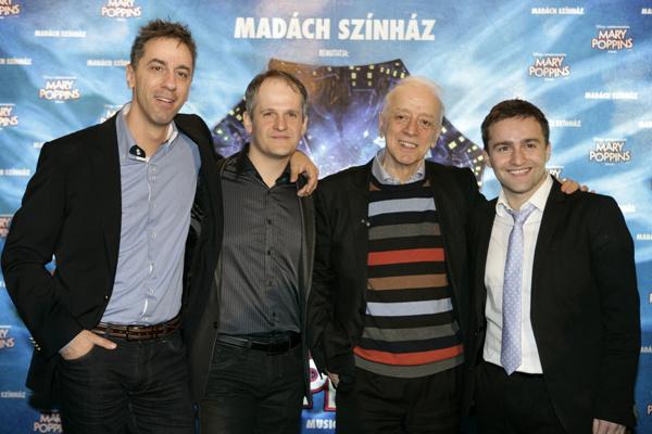 MaryPoppins - sajtótájékoztató a Madách Színház előadása kapcsán - Szirtes Tamás és a három Berti: Csonka András, Sándor Dávid, Szente Vajk