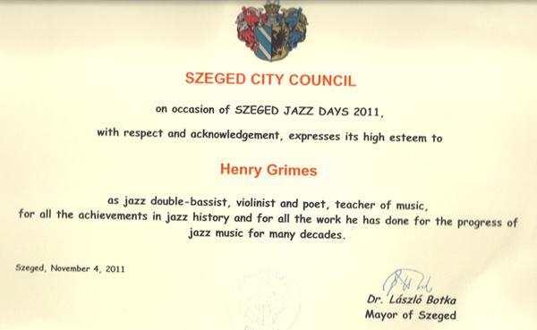 Henry Grimes szegedi oklevele