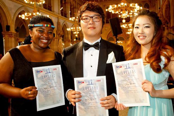 A 31. Belvedere Énekverseny nyertesei: Hlengiwe Mkhwanazi, Beomjin Kim és Sang-Ah Yoon