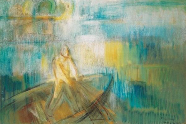 Egry József: Balatoni halász - 70 x 100 cm pasztell / papír