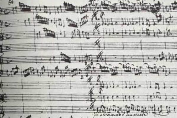 Vivaldi Giustino című operájának kézirata - részlet