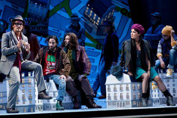 La bohème 2012: Piotr Beczala (Rodolfo), Alessio Arduini (Schaunard), Carlo Colombara (Colline), Anna Netrebko (Mimì