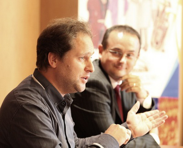 Bogányi Tibor és Horváth ZsoltPannon Filharmonikusok sajtótájékoztató, 2012 szeptember, Pécs
