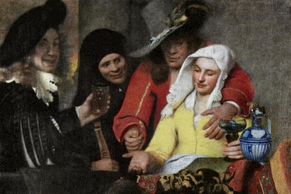 Johannes Vermeer: A kerítőnő (a baloldali figura állítólag Vermeer önarcképe) - részlet