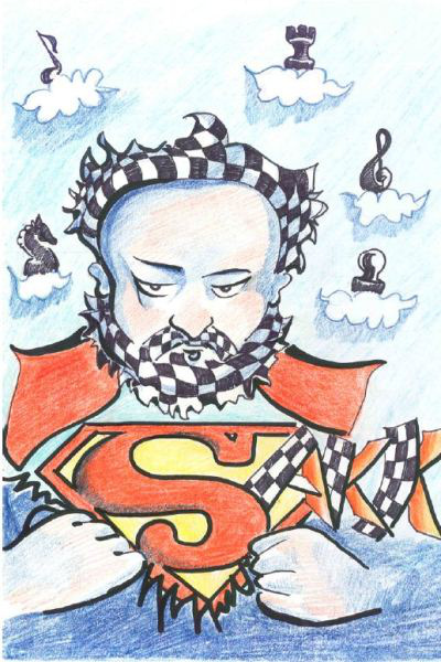 A sakkozó Erkel - Chelemen Paula karikatúrája