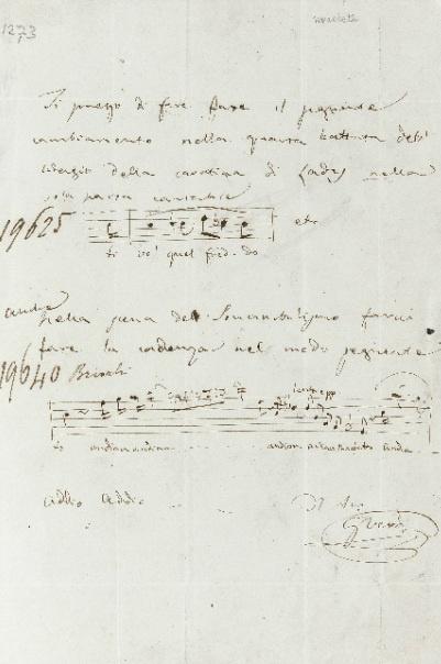 Giuseppe Verdi-kézirat az Arturo Toscanini-hagyatékból a Sotheby's aukcióján