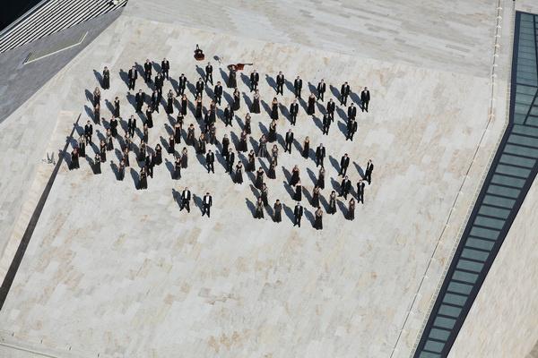 Pannon Filharmonikusok, légifotó a Kodály Központ tetejéről