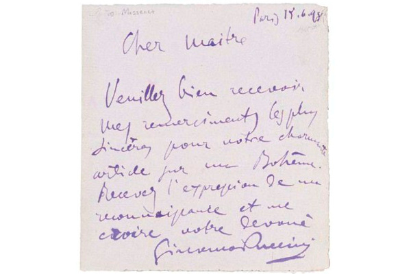 Puccini kéziratos levele Massenet-hez