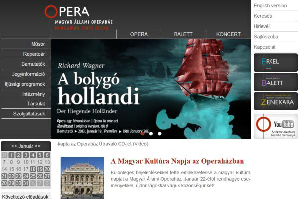 Az Operaház megújult honlapja