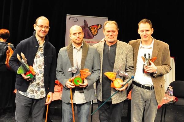 Máthé Zsolt, Borgula András, Gáspár Tibor, Bödőcs Tibor - az első Thália Humorfesztivál díjazottjai