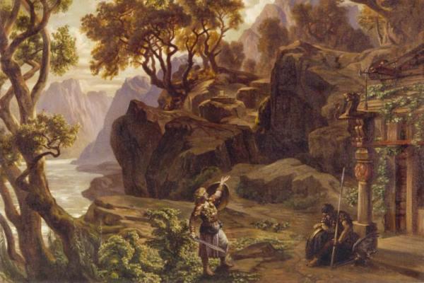 A Gibichungok csarnoka előtt (Josef Hoffmann festménye a Götterdämmerung 2. felvonásához)