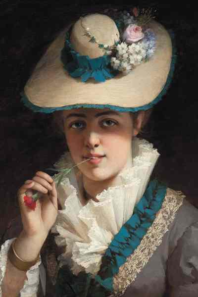 Vastagh György: Fiatal lány szegfűvel - 1880-as évek második fele, magángyűjtemény