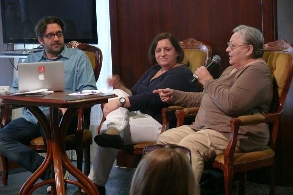 Lévai Balázs, Török Tamara és Molnár Piroska a szakmai beszélgetésen - 13. Pécsi Országos Színházi Találkozó - 2. nap
