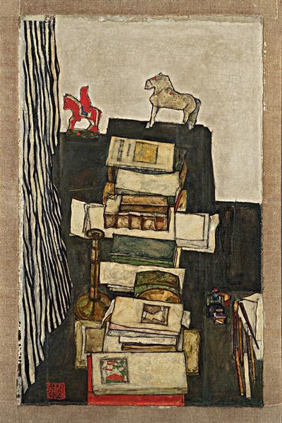 Egon Schiele: Csendélet könyvekkel - részlet