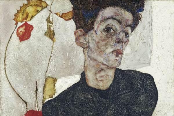 Egon Schiele: Önarckép lampionvirággal (1912) - részlet
