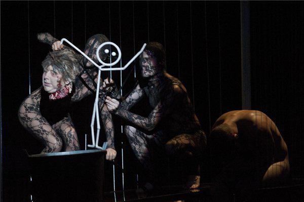Jelenet a Macbeth/Anatómia c. előadás próbáján
