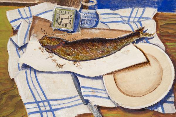 Derkovits Gyula: Halas csendélet (1928) - részlet