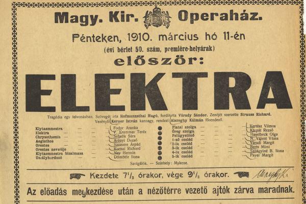 Az Elektra 1910-es magyarországi bemutatójának színlapja