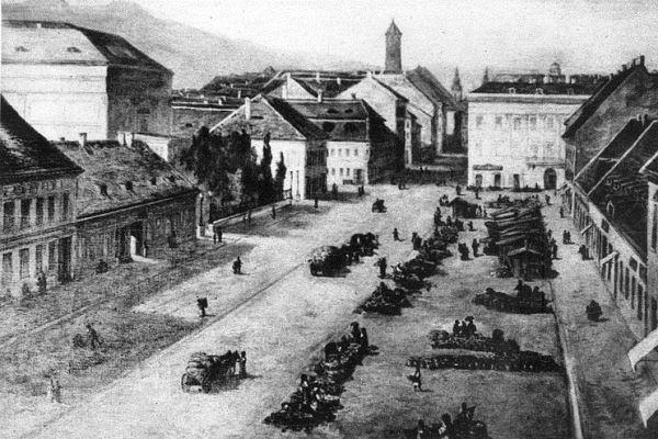 Kerepesi (ma Rákóczi) út, balra a régi Nemzeti Színházzal