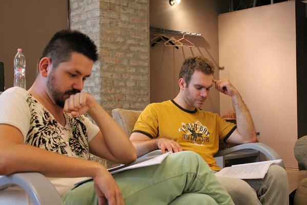Baku György és Makray Gábor az olvasópróbán