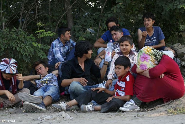 Menekült család Ásotthalomnál