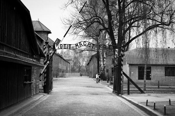Az auswitzi tábor bejárata