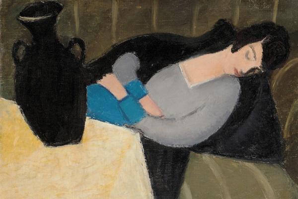 Alvó nő fekete vázával (Forrás: Virág Judit galéria)