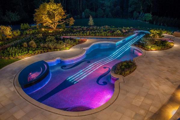 Hegedű alakú medence (Fotó: Facebook/Cipriano Landscape Design and Custom Swimming Pools)