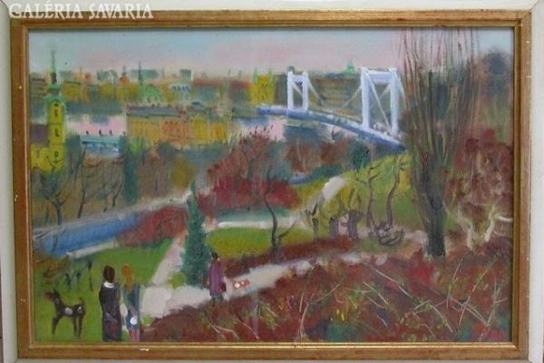 Doór Ferenc: Erzsébet híd (Forrás: Savaria Galéria)