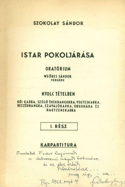 Szokolay Sándor: Istar pokoljárása