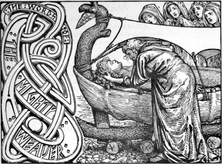 Egy 1908-as Edda-kiadás illusztrációja: Odin az utolsó szavakat suttogja a halott Baldur fülébe