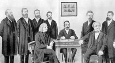 Schunda József Liszt Ferenc és Erkel Ferenc társaságában