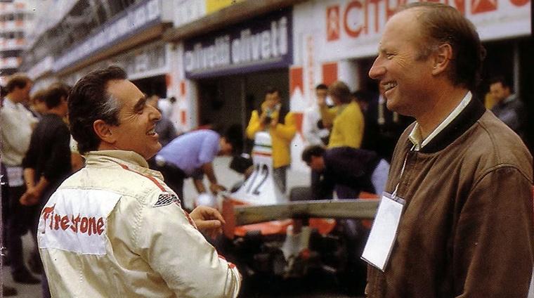 Peter Schetty (balra) 1987-ben, a Ferrari 40. születésnapján Imolában beszélget Albert Obrist-tel, Enzo Ferrari személyes barátjával és a világ legismertebb Ferrari gyűjtőjével, aki 1962 óta gyűjti őket, legfőképpen a legendás versenyautóikat