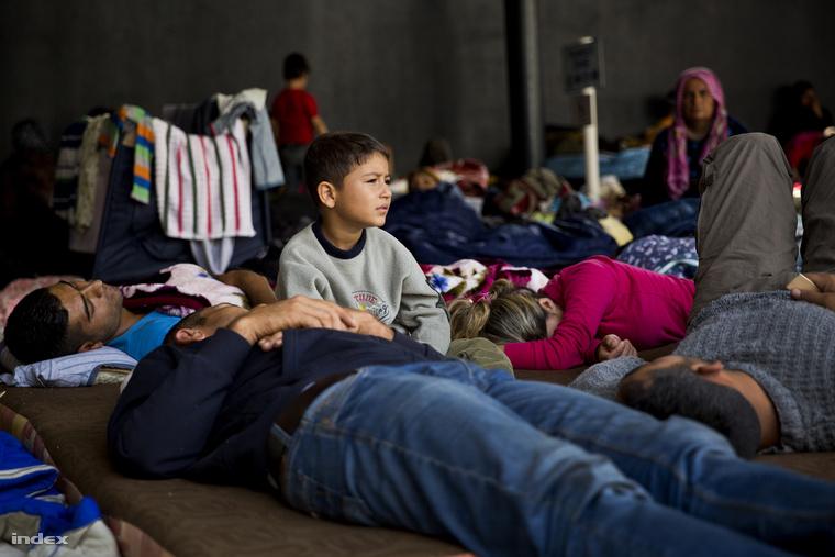 Menekültek a Keleti pályaudvaron kialakított tranzitzónában