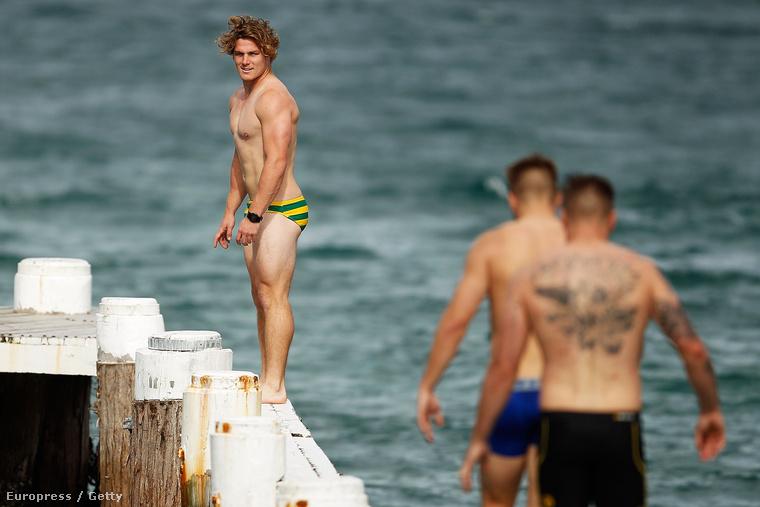 Az ausztrál rögbiválogatott fürdőzik
