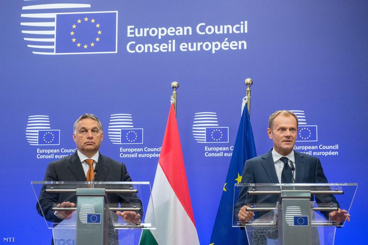 Orbán Viktor és Donald Tusk sajtótájékoztatója