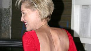 Sharon Stone 57 évesen is lazán flangál melltartó nélkül