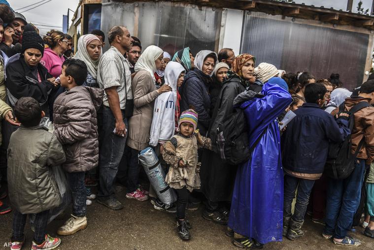 Menekültek várakoznak egy szerb gyűjtőponton