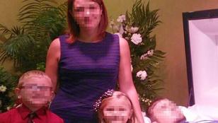 Bizarr: halott férje mellett pózolt gyerekeivel az anya